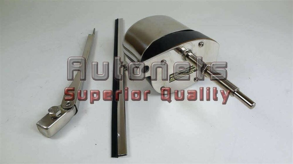 Street Hot Rod Windshield Wiper Motor Blade Kit Boat Chevy
