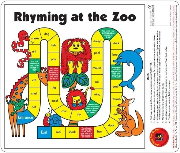 Rhyming At The Zoo Desk Reading Game Words That Rhyme