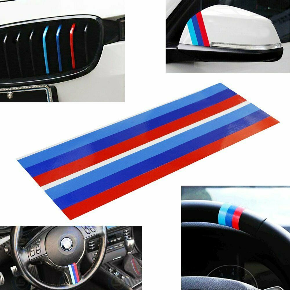 2pc 9 m colored stripe decal stickers for bmw exterior or interior decoration ebay. Black Bedroom Furniture Sets. Home Design Ideas