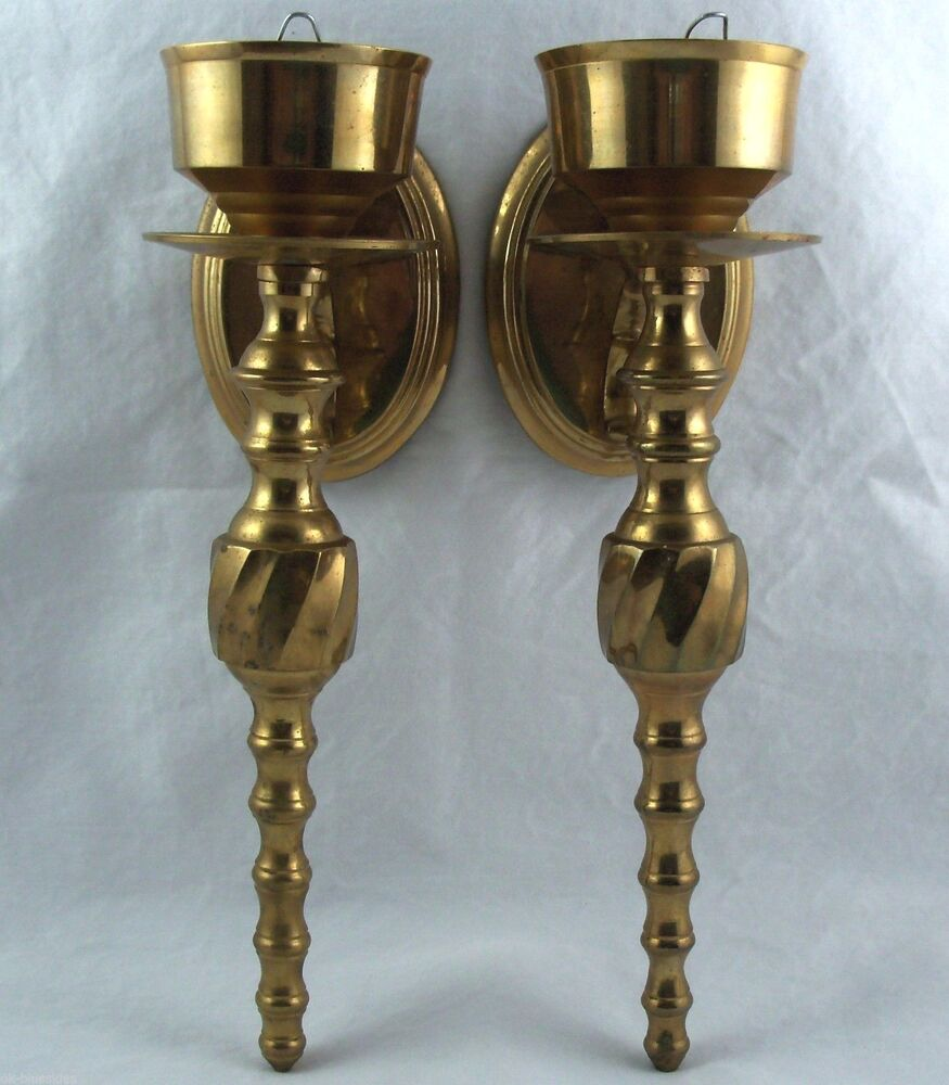 Wall Sconces Set Of 2 : Brass Wall Sconces Taper Candle Holders Set of 2 eBay