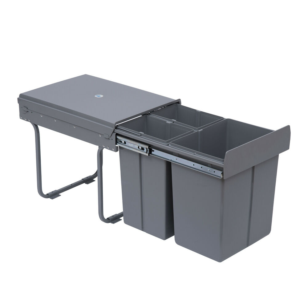 recycle waste bin 40l sorter recycling pull out soft close kitchen cabinet ebay. Black Bedroom Furniture Sets. Home Design Ideas