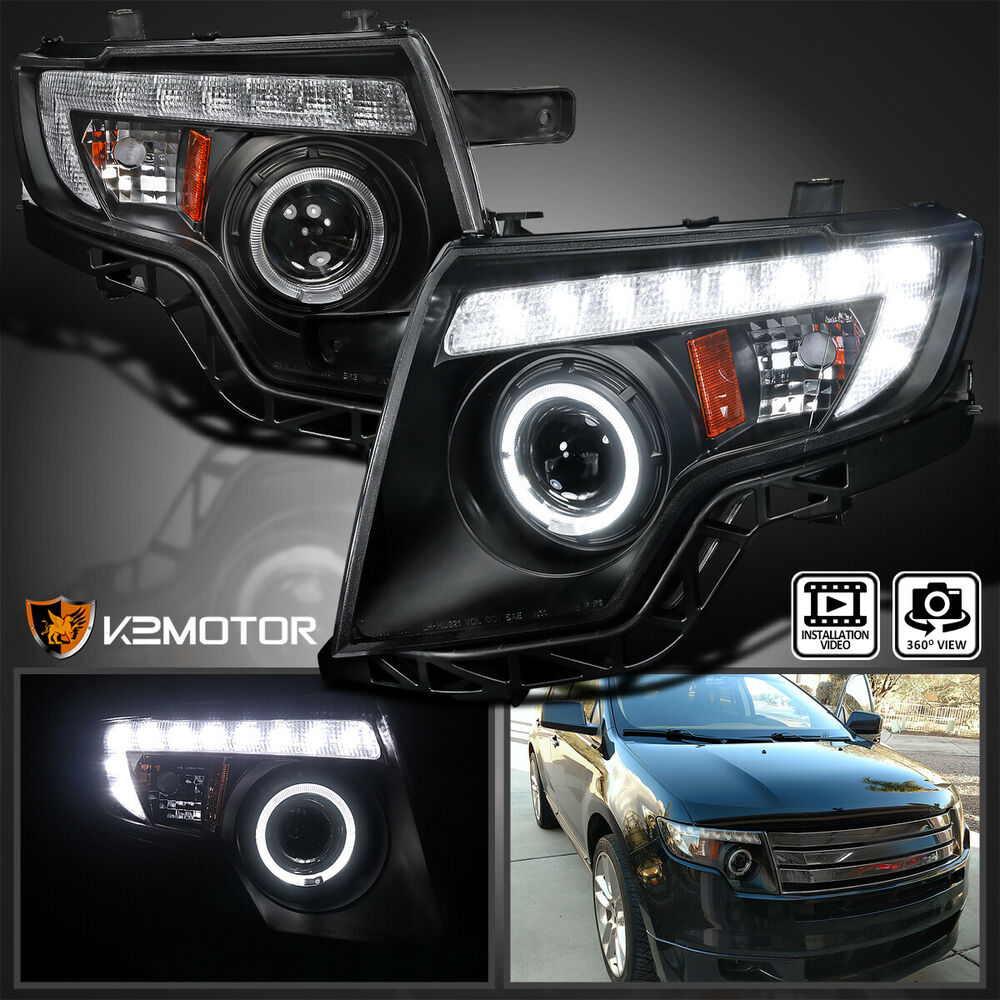 2007 2010 Ford Edge Led Drl Black Halo Rim Projector