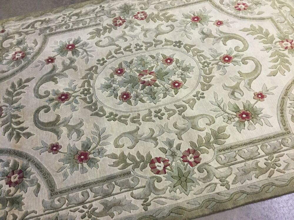 5 6 x 8 beige green aubusson french oriental area rug floral hand knotted wool ebay
