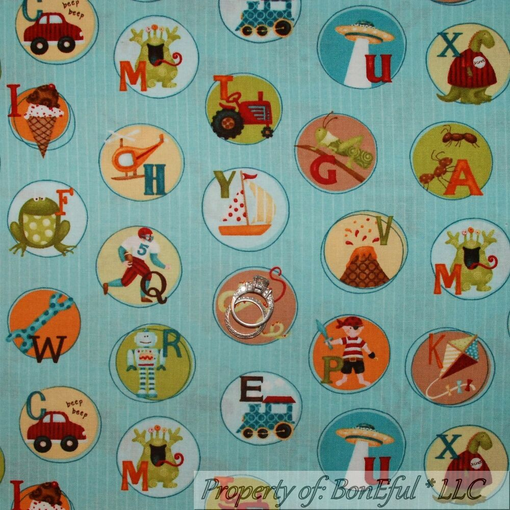 Boneful fabric fq cotton quilt blue stripe alphabet letter for Boy quilt fabric