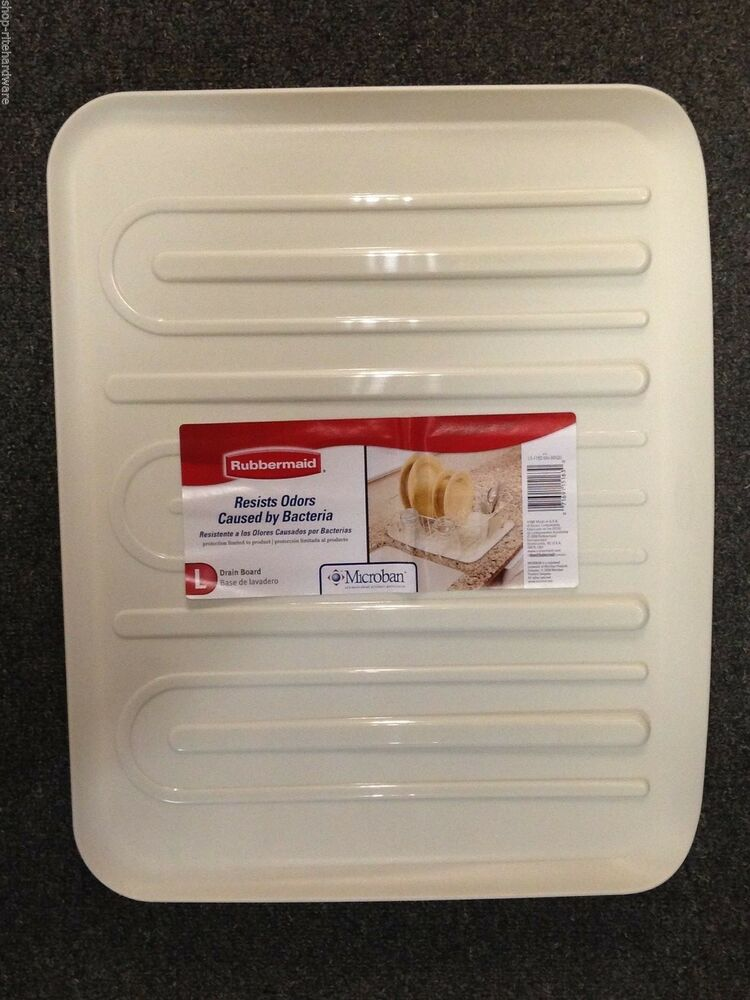 New Rubbermaid Large Bisque Sloped Microban Dish Drainer