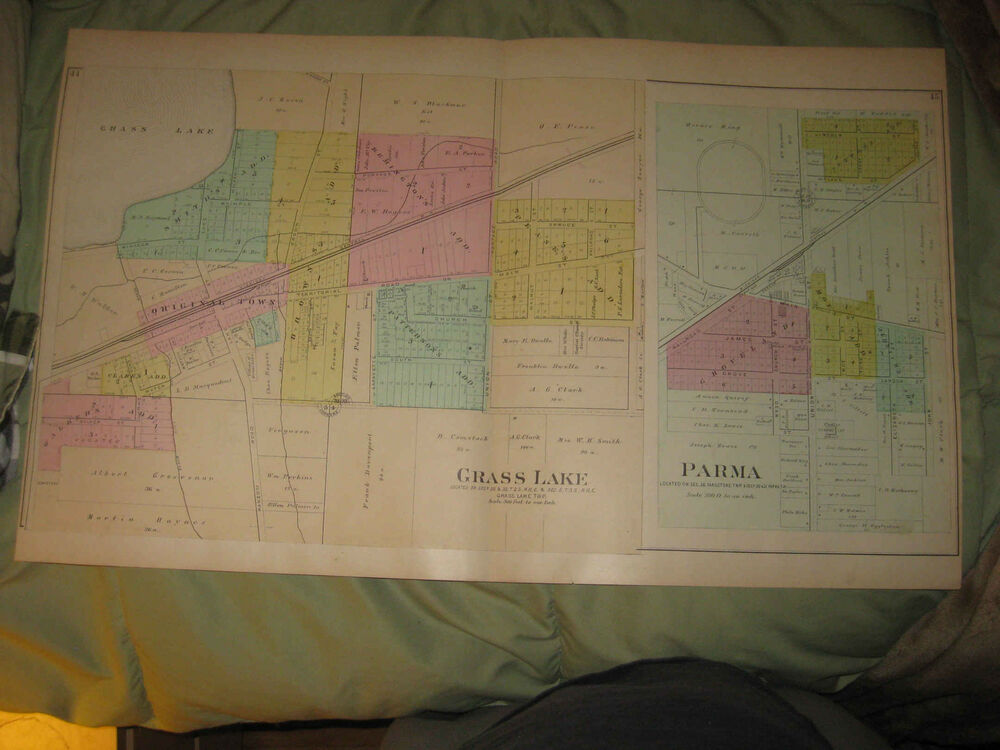 Spring Arbor Michigan Map.Antique Waterloo Grass Lake Parma Rives Spring Arbor Jackson County