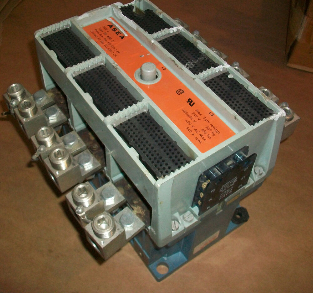 Asea size 6 contactor model eg630 2 540 amp 600 vac 400 hp for 3 phase motor hp to amps
