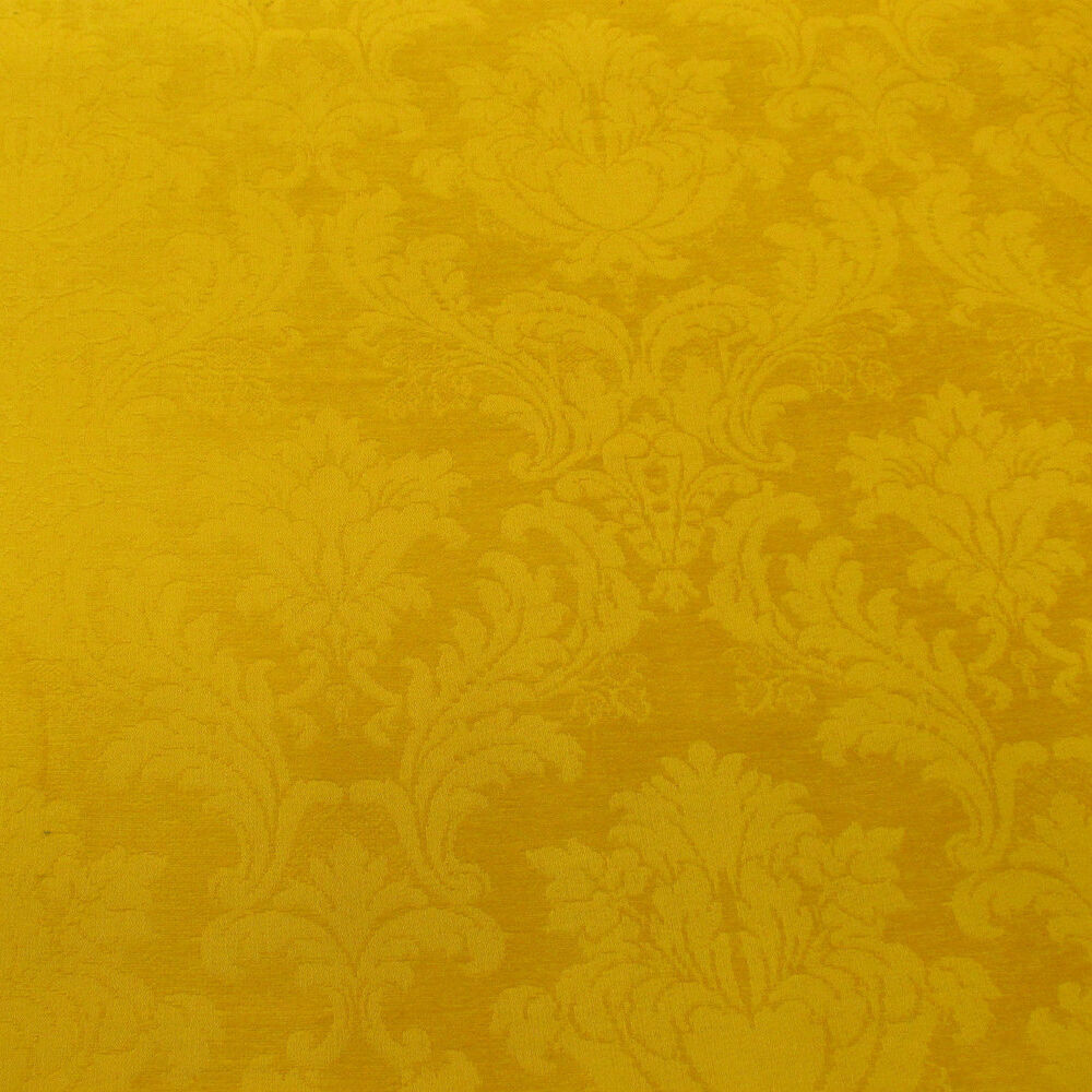 Marmalade Gold Damask Chenille Designer Curtain Fabric By