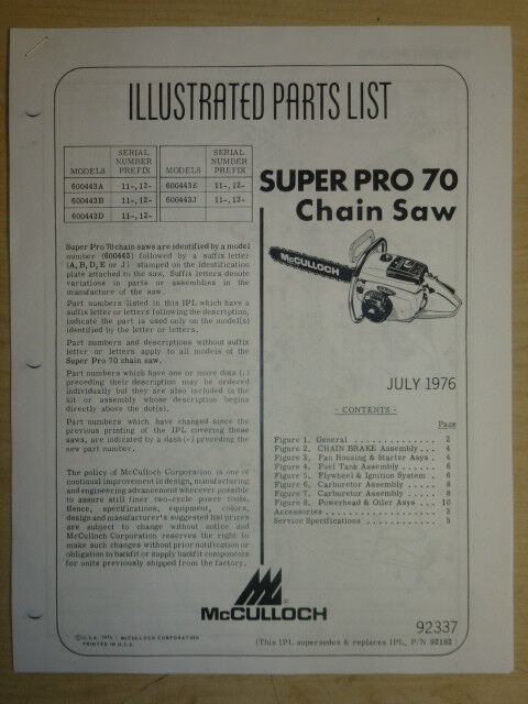 Super Pro Replacement Parts : Mcculloch super pro chain saw illustrated parts