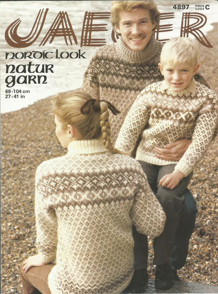 VINTAGE KNITTING PATTERN NORDIC LOOK SWEATERS FOR ADULTS & CHILDREN eBay