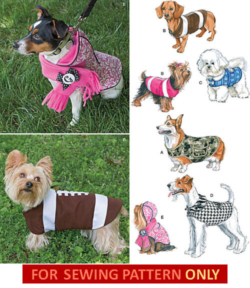 Sewing pattern make small large dog clothes 5 coats for How to make a shirt for your dog