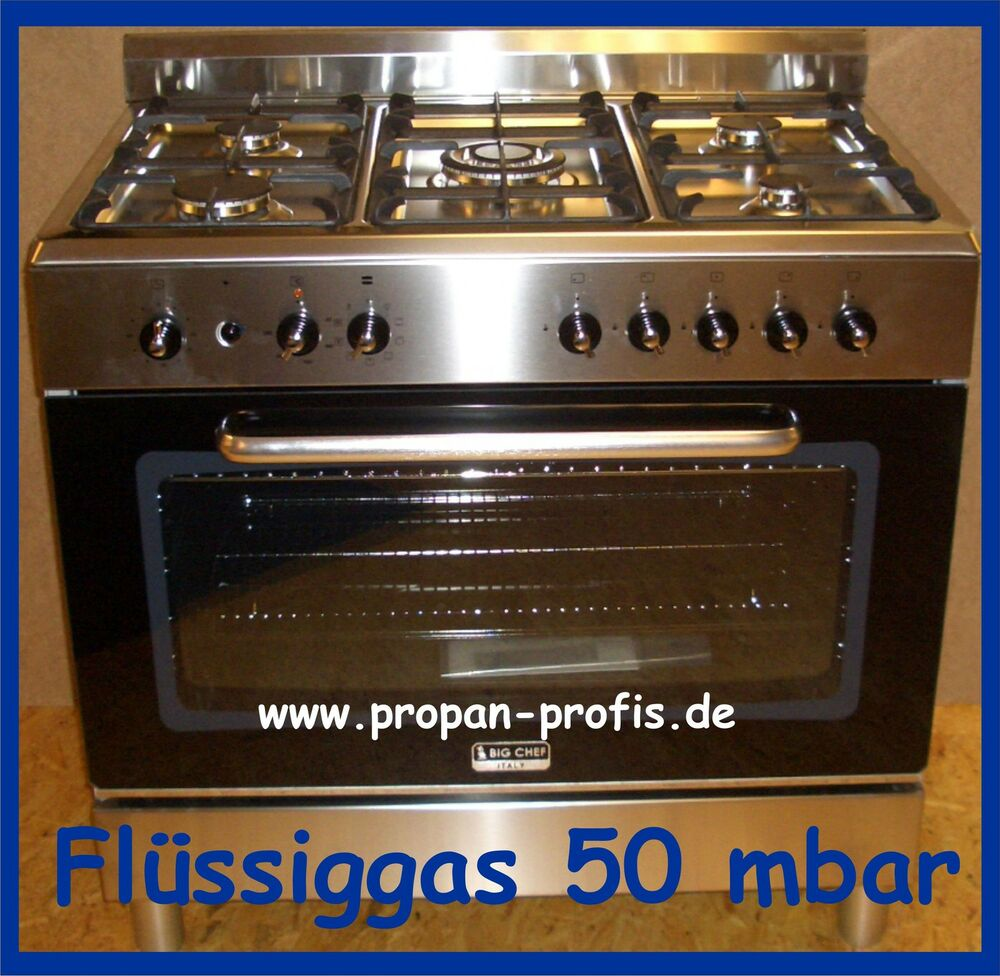 gasherd big chef propangas 5 flammig 90 cm fl ssiggas mit elektro backofen 230 v ebay. Black Bedroom Furniture Sets. Home Design Ideas