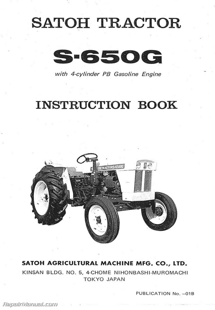 Satoh 650g Tractor Parts : Satoh s g operators manual ebay