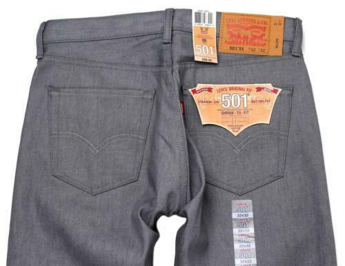 new levi 39 s 501 men 39 s original fit straight leg jeans button fly gray 501 1403 ebay. Black Bedroom Furniture Sets. Home Design Ideas