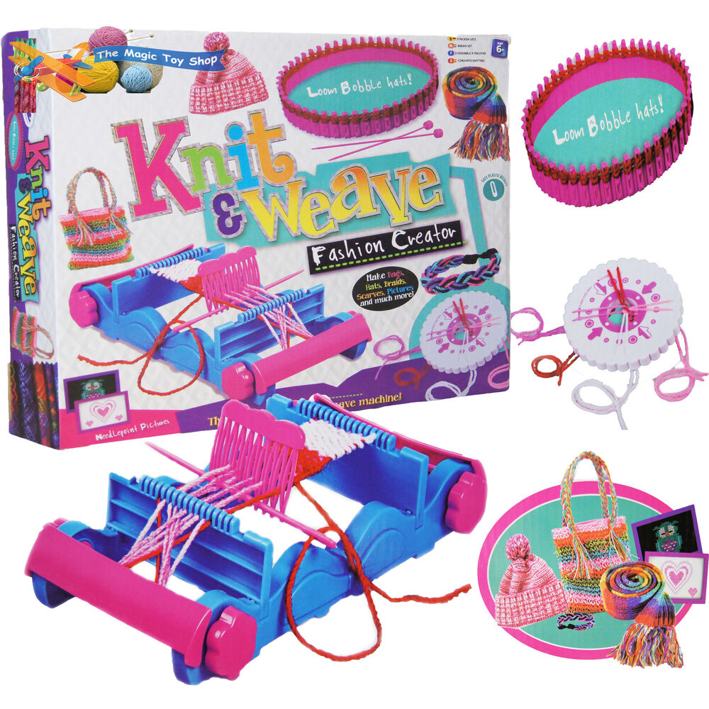 Knitting Tools For Kids : Childrens knit weave craft set weaving loom braiding