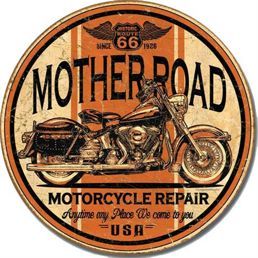 Old Rt 66 >> Vintage Replica Tin Metal Sign Mother Road RT 66 Motorcycle Harley Davidson 1697 | eBay