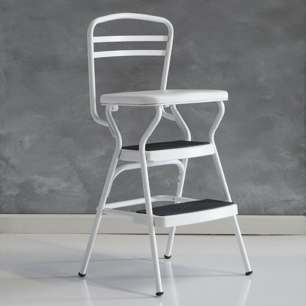 Cosco White Retro Counter Chair Step Stool With Lift Up