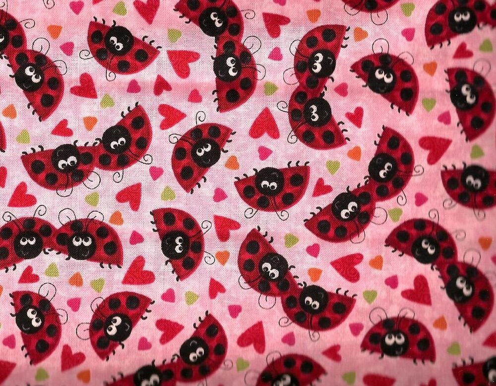 Quilting treasures ladybugs hearts pink 100 cotton for Cotton quilting fabric