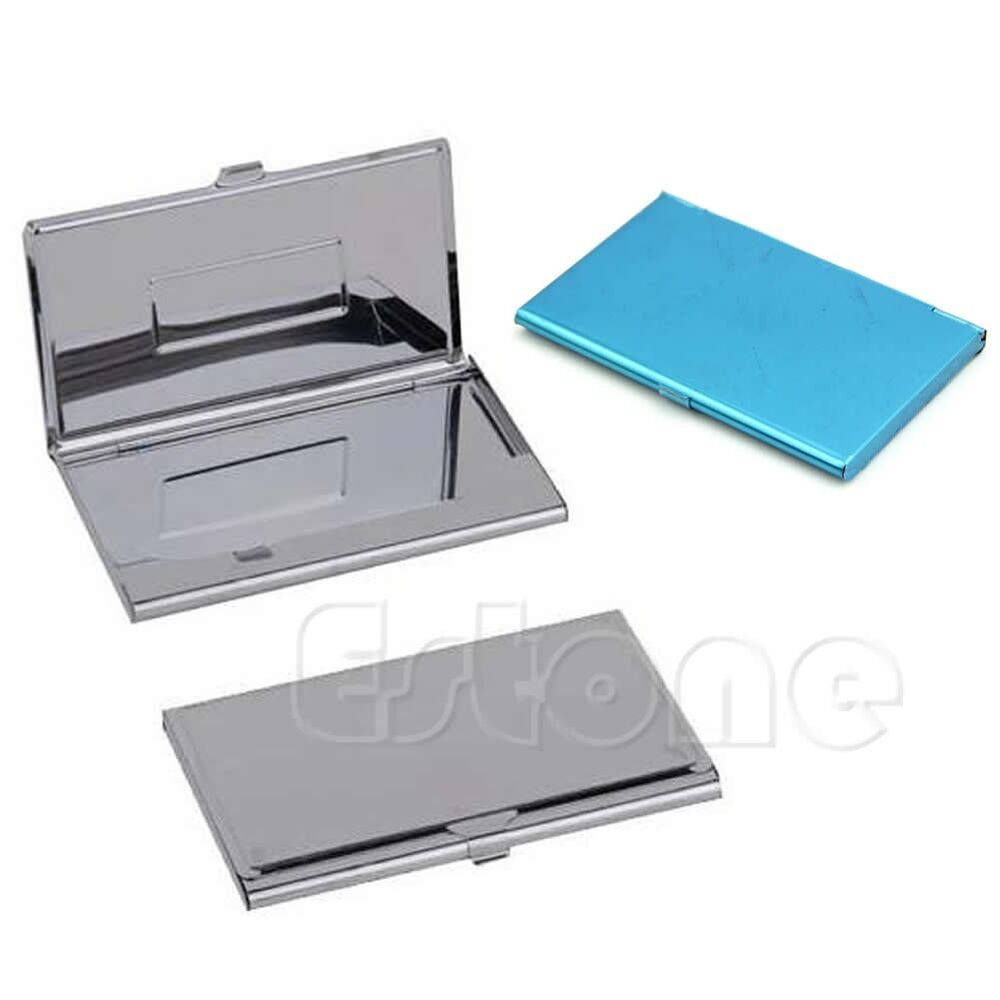 Stainless steel business name card holder credit id box for Business cards holder case