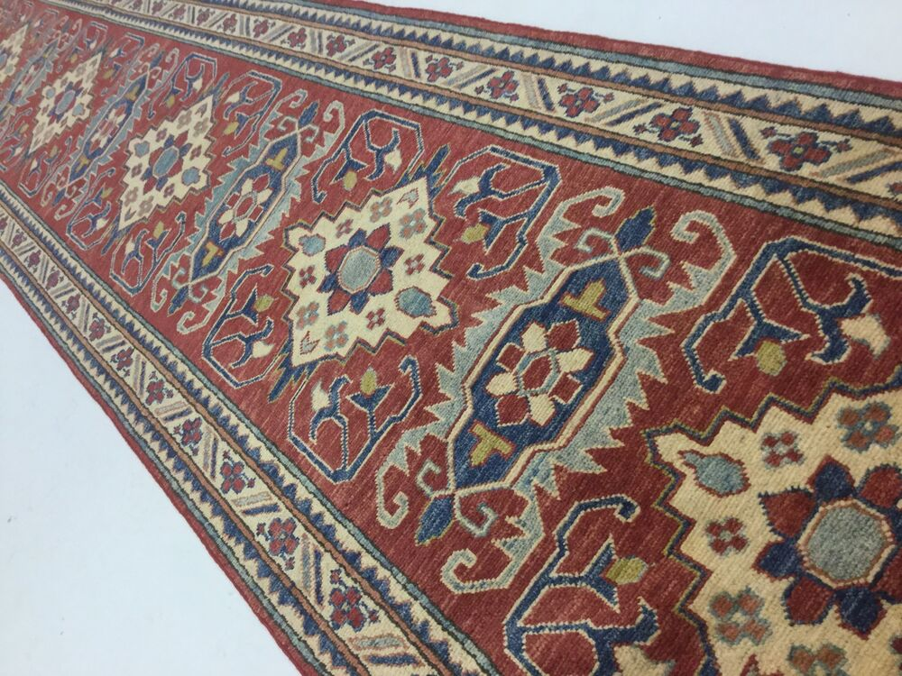 2 8 X 18 Red Blue Geometric Persian Pack Oriental Rug