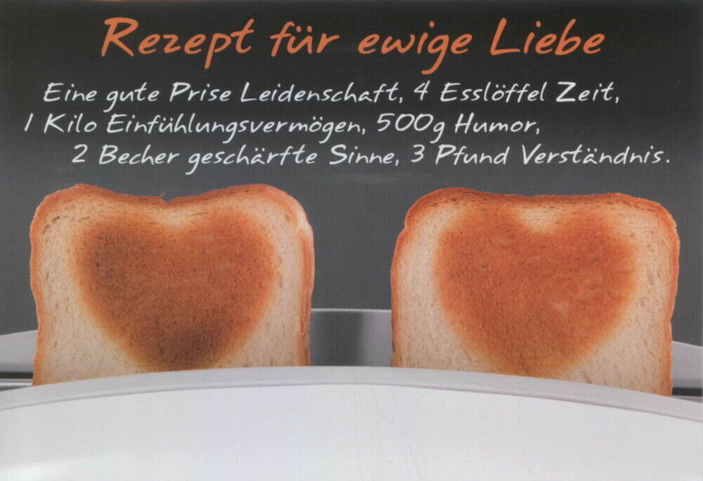 gl ckwunsch karte rezept f r ewige liebe 11135 ebay. Black Bedroom Furniture Sets. Home Design Ideas