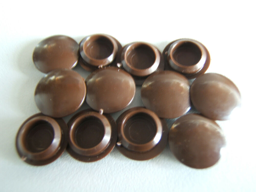 12 chocolate brown plastic 10mm hole covers screw cap tops. Black Bedroom Furniture Sets. Home Design Ideas