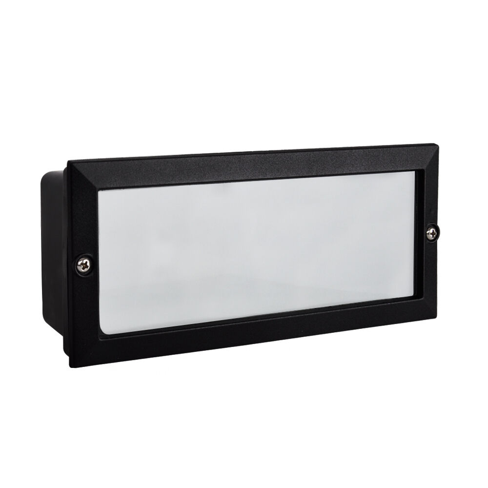 Wall Lights On Brick : Modern Outdoor Garden Recessed Brick Wall Light Black Aluminium IP54 Lighting eBay