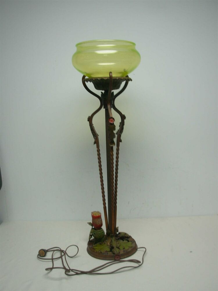 Antique 1925 Art Metal Works Standing Lamp Vaseline