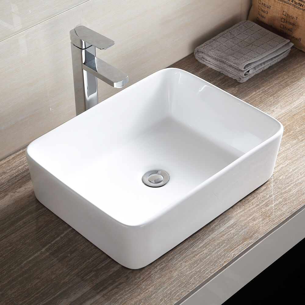 New design rectangle counter top basin sink unit ceramic for Bath sink and toilet packages