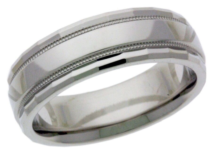 Platinum 14k 10k Silver White Gold Wedding Band Ring Facet Cut Mens Milgrain
