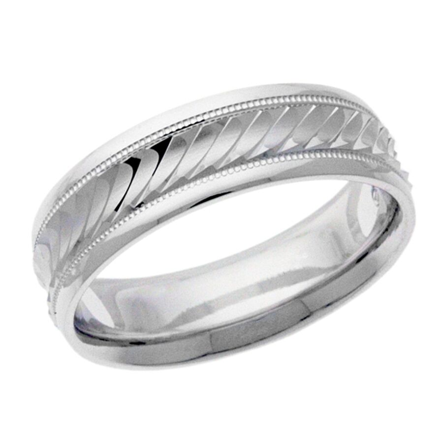 Platinum 14k 10k Silver White Gold Wedding Band Ring Diamond Cut Men 39 S Mi