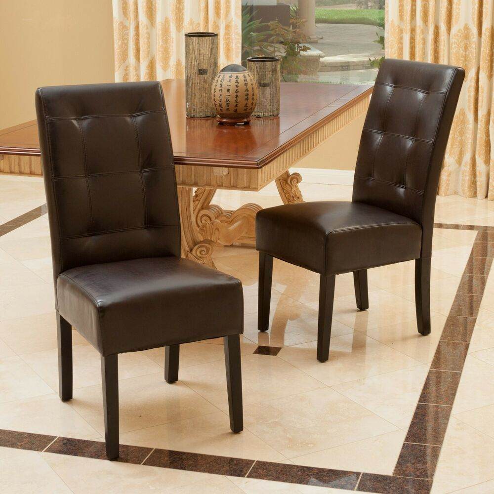 Set of 2 dining room furniture tufted brown leather dining for Brown leather dining room chairs