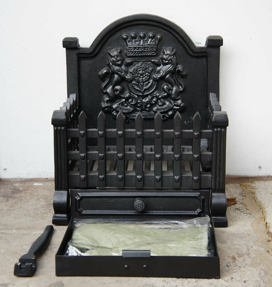 royal std cast iron dog grate open fire basket fireplace