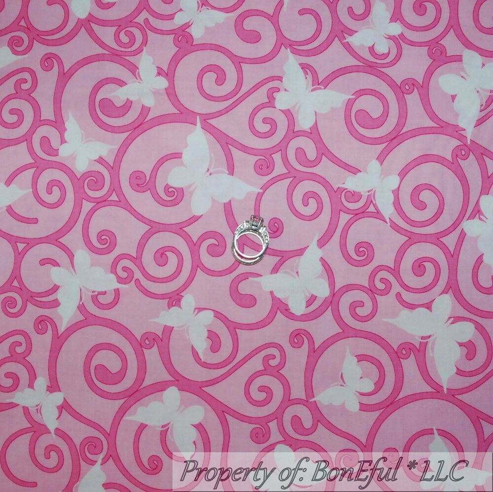 Boneful Fabric Fq Cotton Quilt Pink White Lg Butterfly