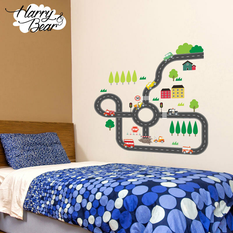 Road map cars nursery wall stickers kids vinyl wall for Cars wall mural sticker