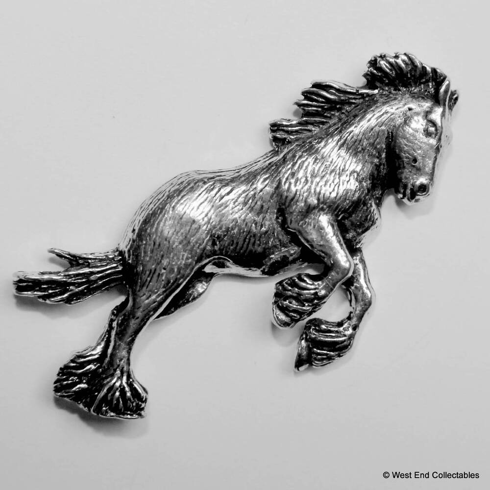 Details about Shire Clydesdale Horse Pewter Pin Brooch -British Handmade- Horse Gift Present