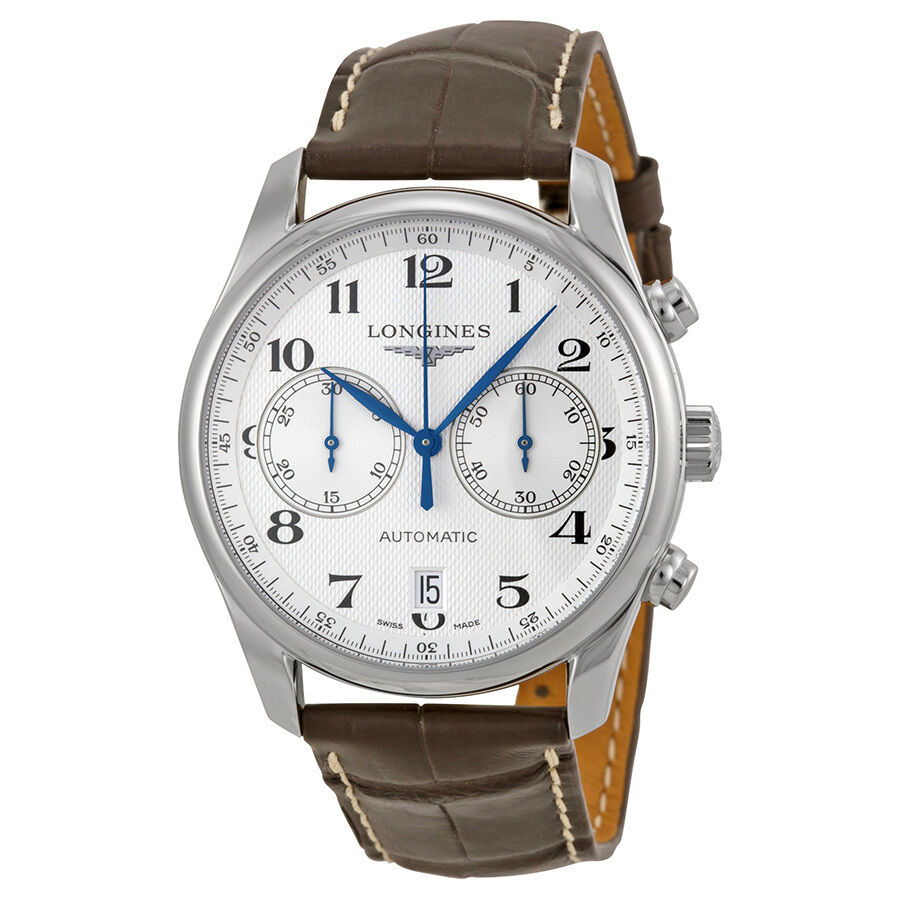 Longines master chronograph silver dial brown leather mens watch l26294783 ebay for Chronograph master