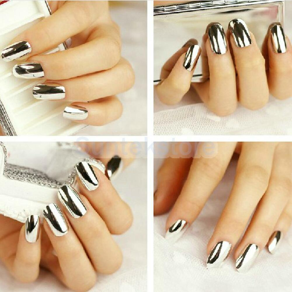 Boxed 70pcs Silver Metallic Resin False DIY Fingernails ...