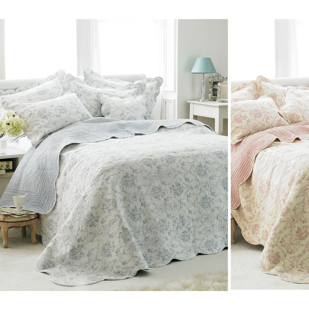 French Vintage Toile Bedspread - Luxury 100% Cotton Soft ...