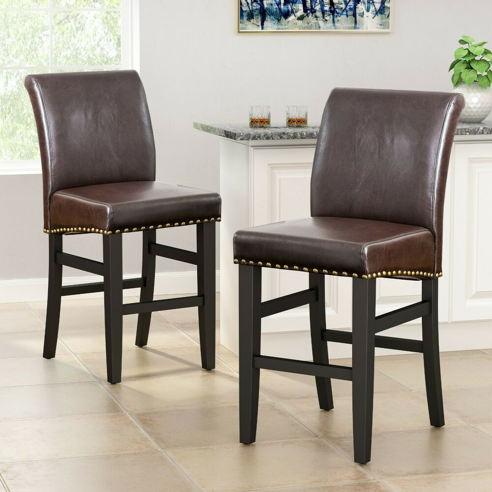 Set Of 2 Dining Room Brown Leather Counter Stools W