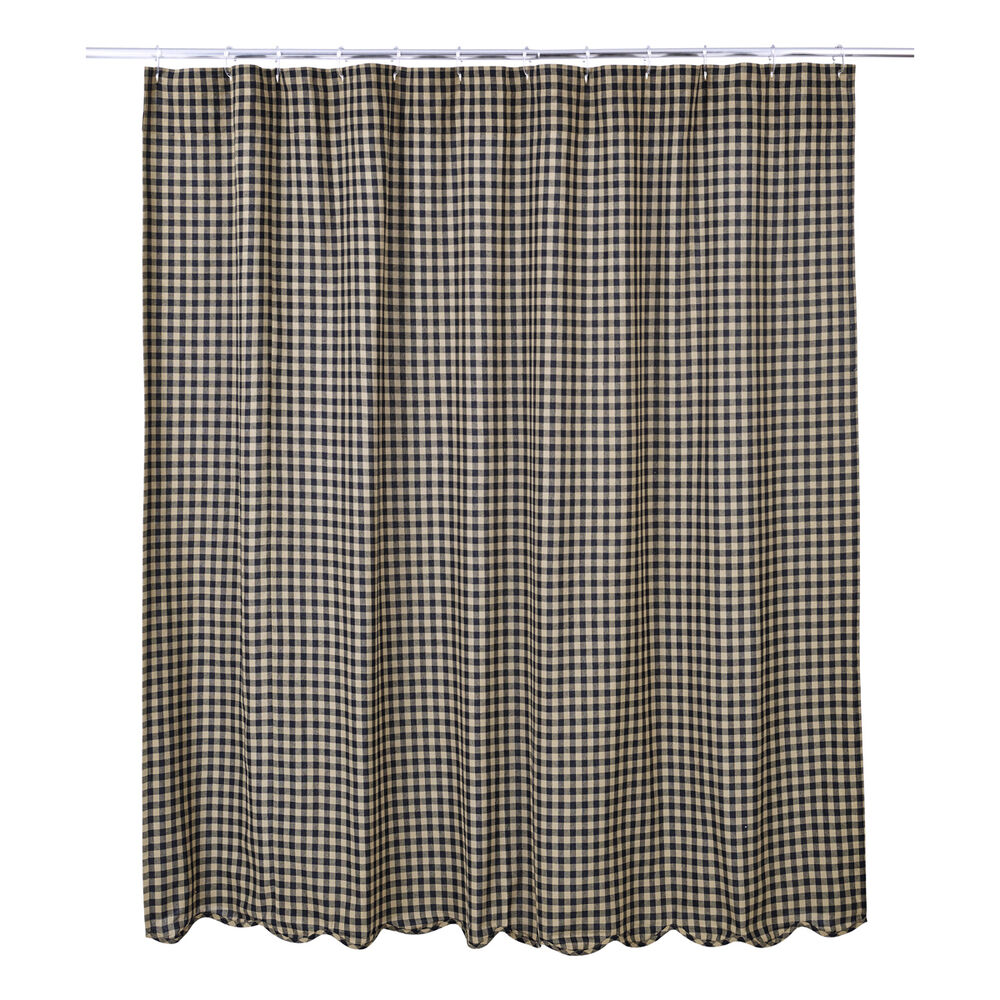 Country Primitive Black Check Scalloped Shower Curtain