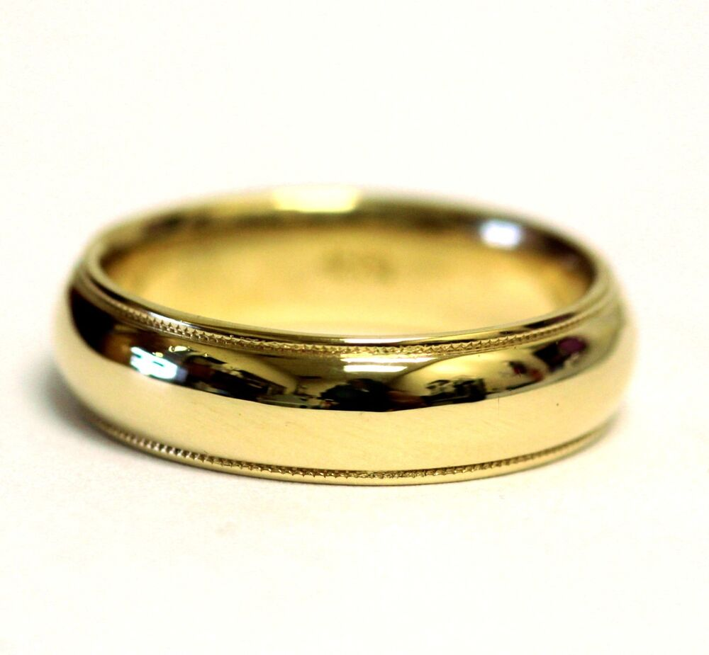 14k Yellow Gold Mens Gents Milgrain Wedding Band Ring 6mm