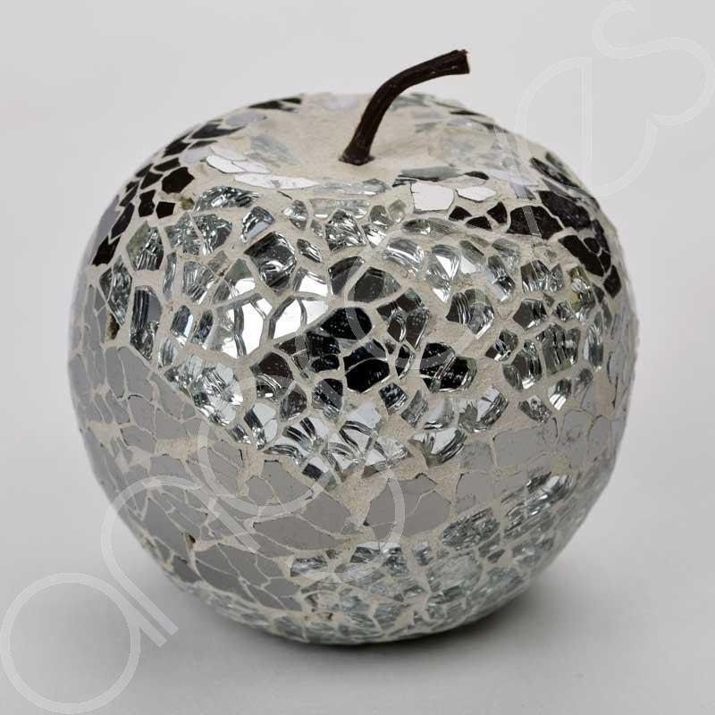 Mosaic glass apple silver home decorative decor fruit for Glass home decor