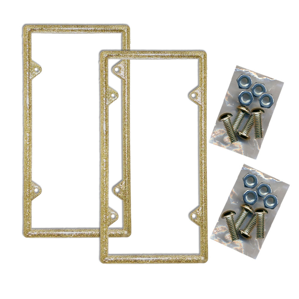 Two Gold Glitter Plastic License Plate Frames Bling ...