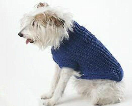 Dog Coat Knitting Pattern Uk : Dog coat knitting pattern simple rib size small