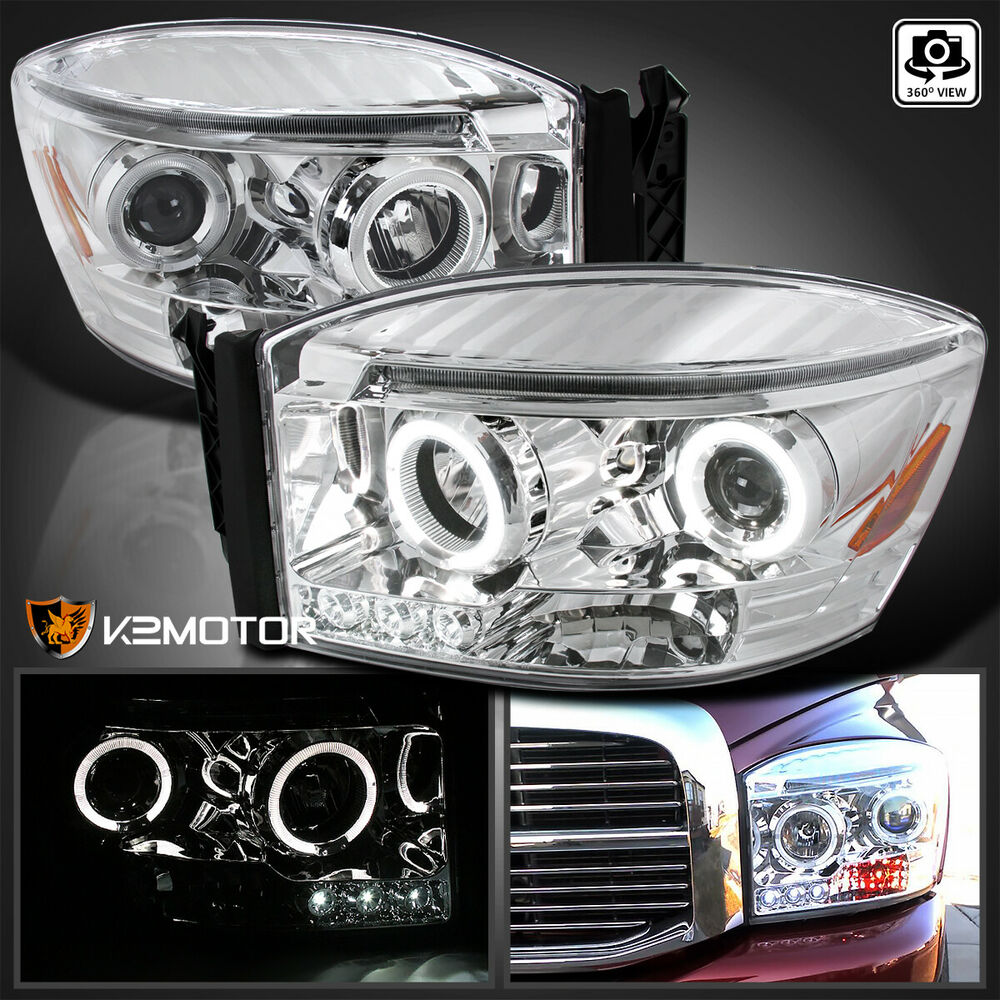 2006 2008 dodge ram halo led projector headlights chrome. Black Bedroom Furniture Sets. Home Design Ideas