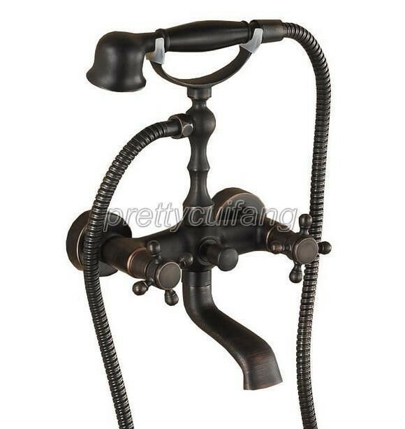 Oil Rubbed Bronze Clawfoot Bath Tub Faucet Tap W Handheld Spray Shower Prs01
