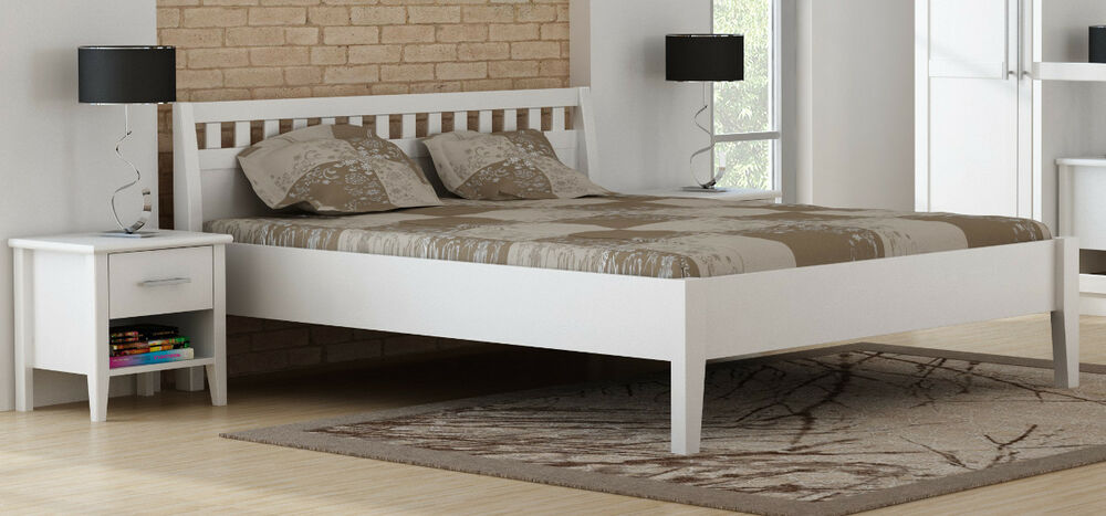 paula bett doppelbett holzbett 160x200 art 7016 kiefer massiv weiss lackiert ebay. Black Bedroom Furniture Sets. Home Design Ideas