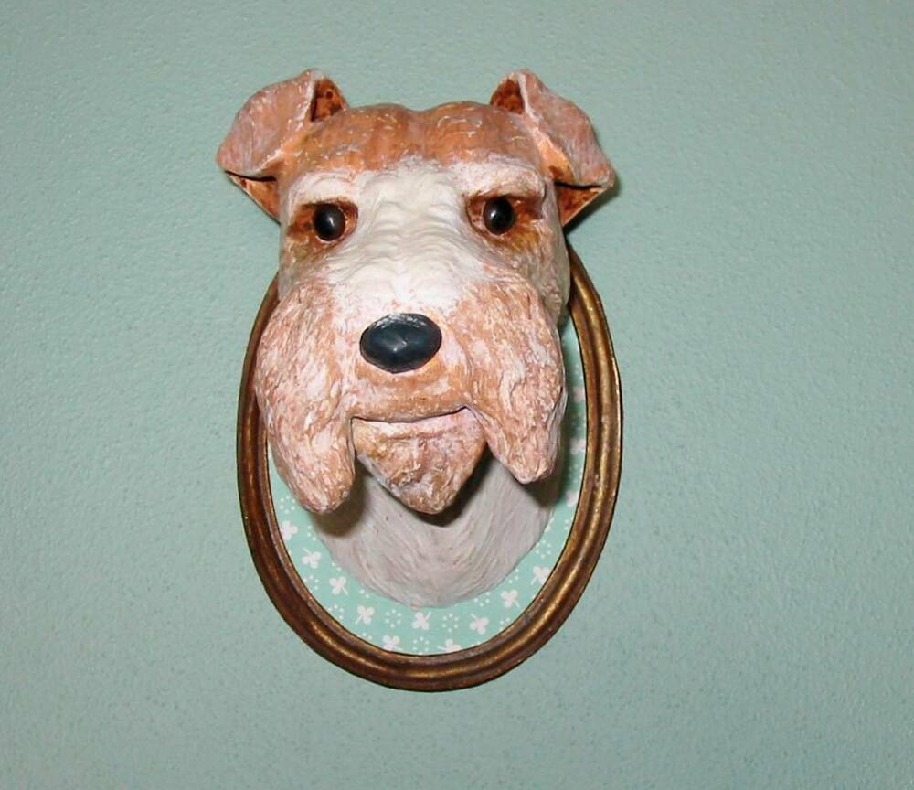 Cody Foster Wire Haired Fox Terrier Dog Paper Mache Dog Show Plaque ...