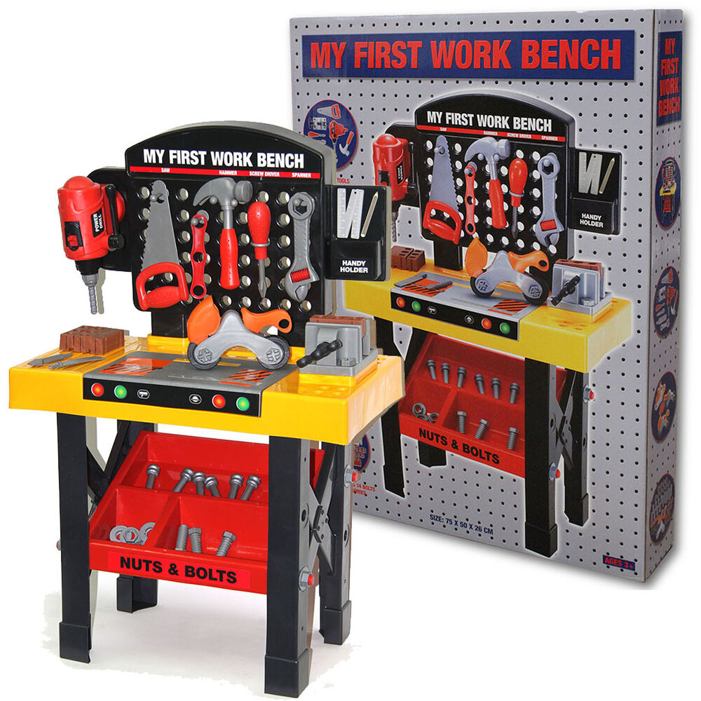 Childrens Toy Workbench Tool Kit Bench Kids Diy Work Station Working Drill Play Ebay